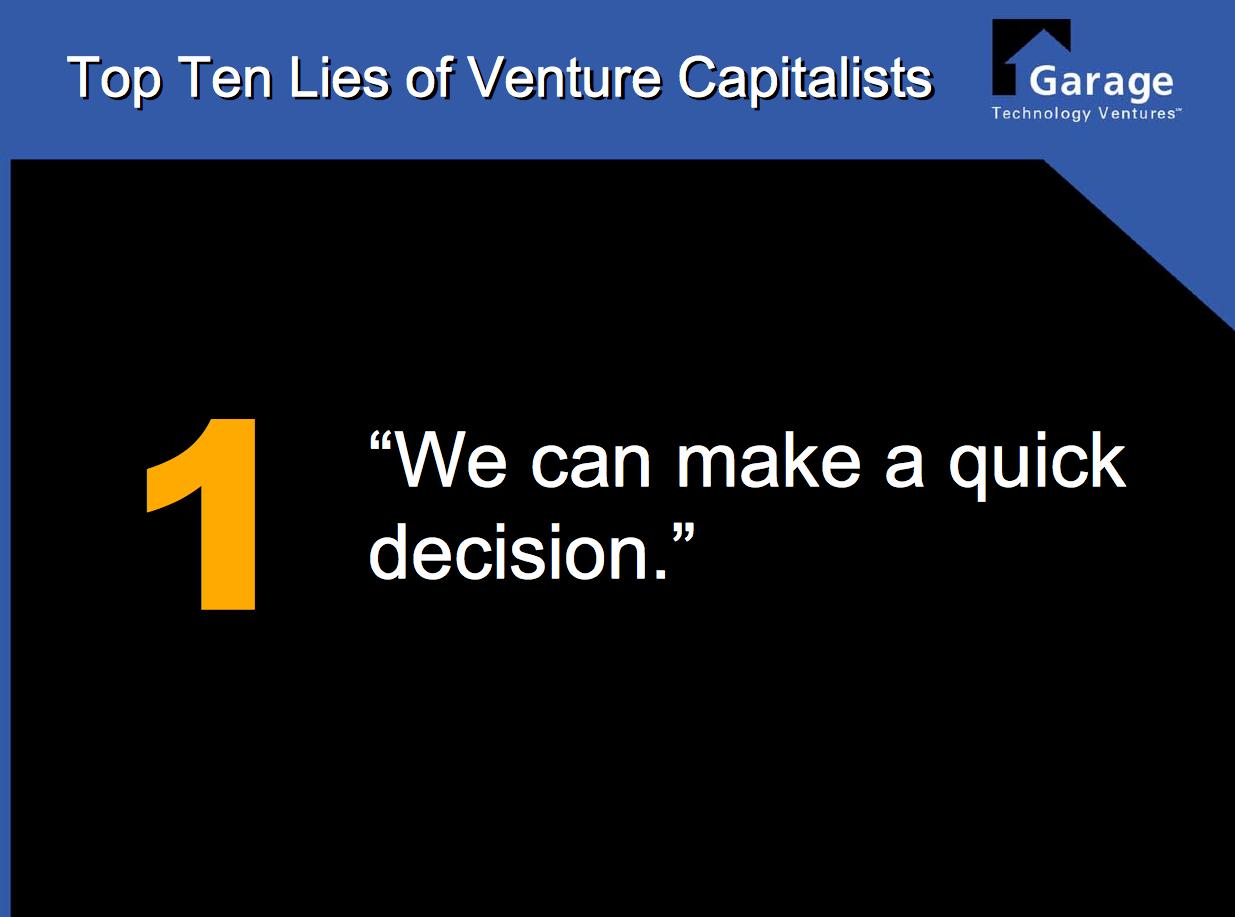 Top Ten Lies of Venture Capitalists